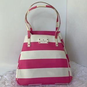 Kate Spade Sidney Pink & White Stripe Tote Bag